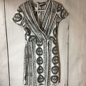 Boohoo Black And White Tribal Print Mini Dress